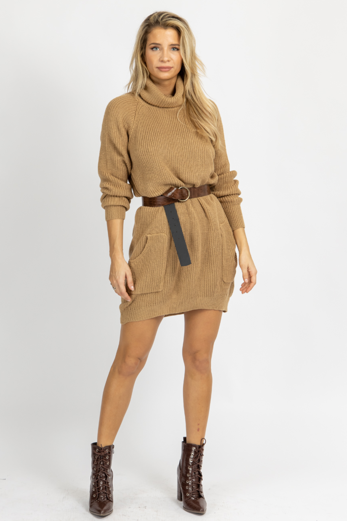 TAN KNIT SWEATER DRESS