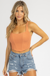 TANGERINE BUSTIER ZIP BACK CROP