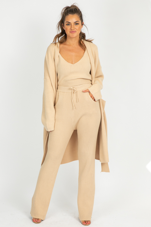 TAN 3 PIECE SWEATER SET