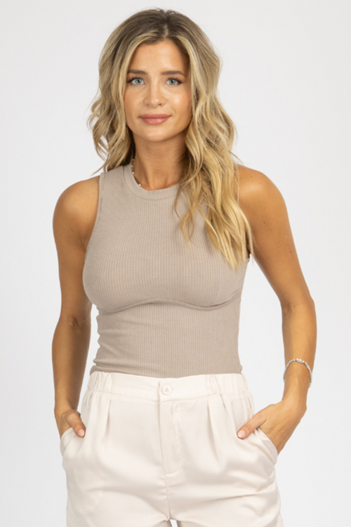 TAUPE BUST STITCH TANK