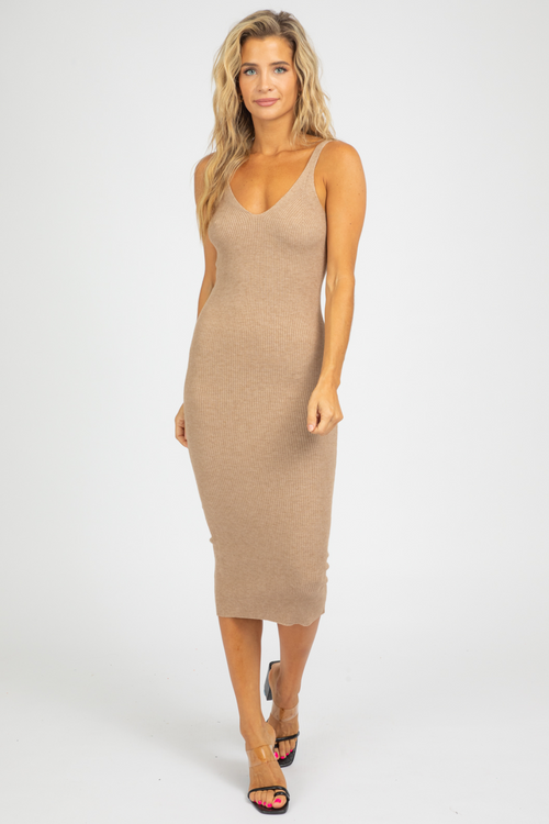 TAUPE SCOOP NECK KNIT MIDI