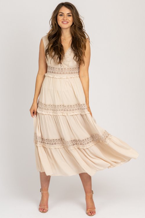 TAUPE LACE BUST CROCHET MAXI