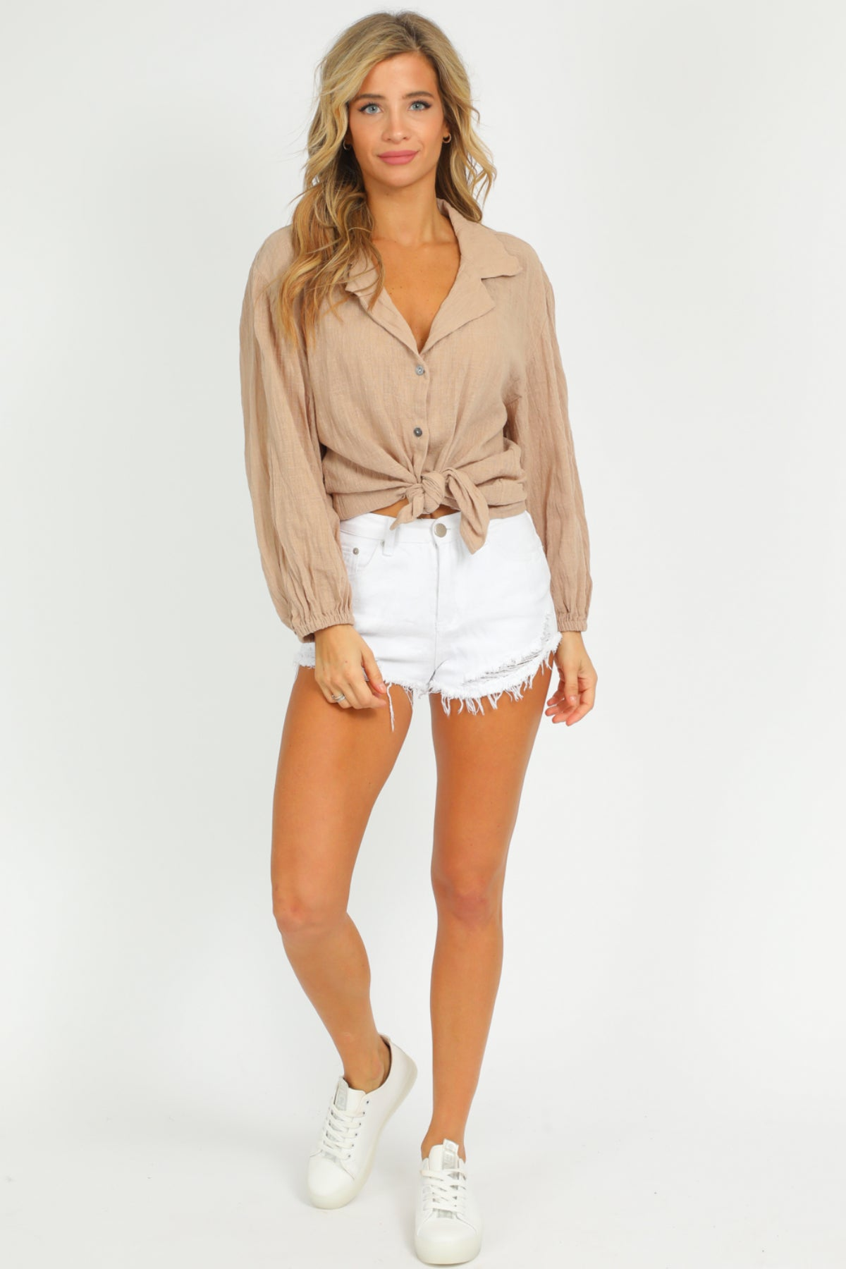 TAN BUBBLE SLEEVE TOP