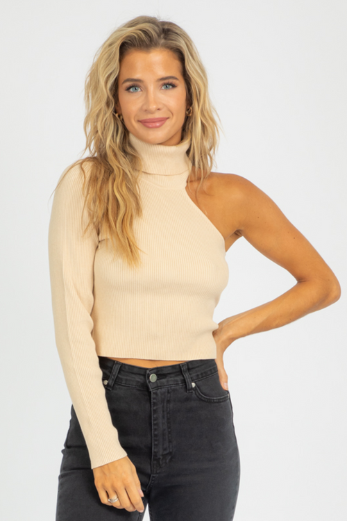 TAUPE ONE SHOULDER MOCK NECK SWEATER
