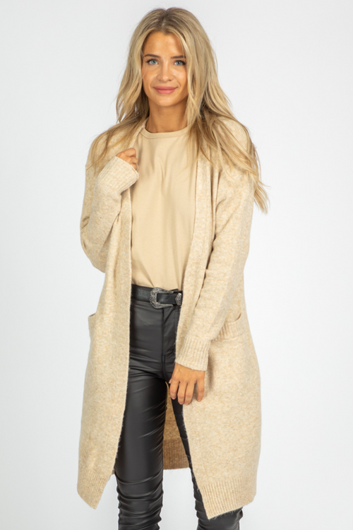 TAUPE OPEN FRONT POCKET CARDIGAN