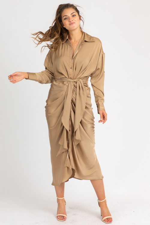 TAUPE SATIN FRONT TIE MAXI