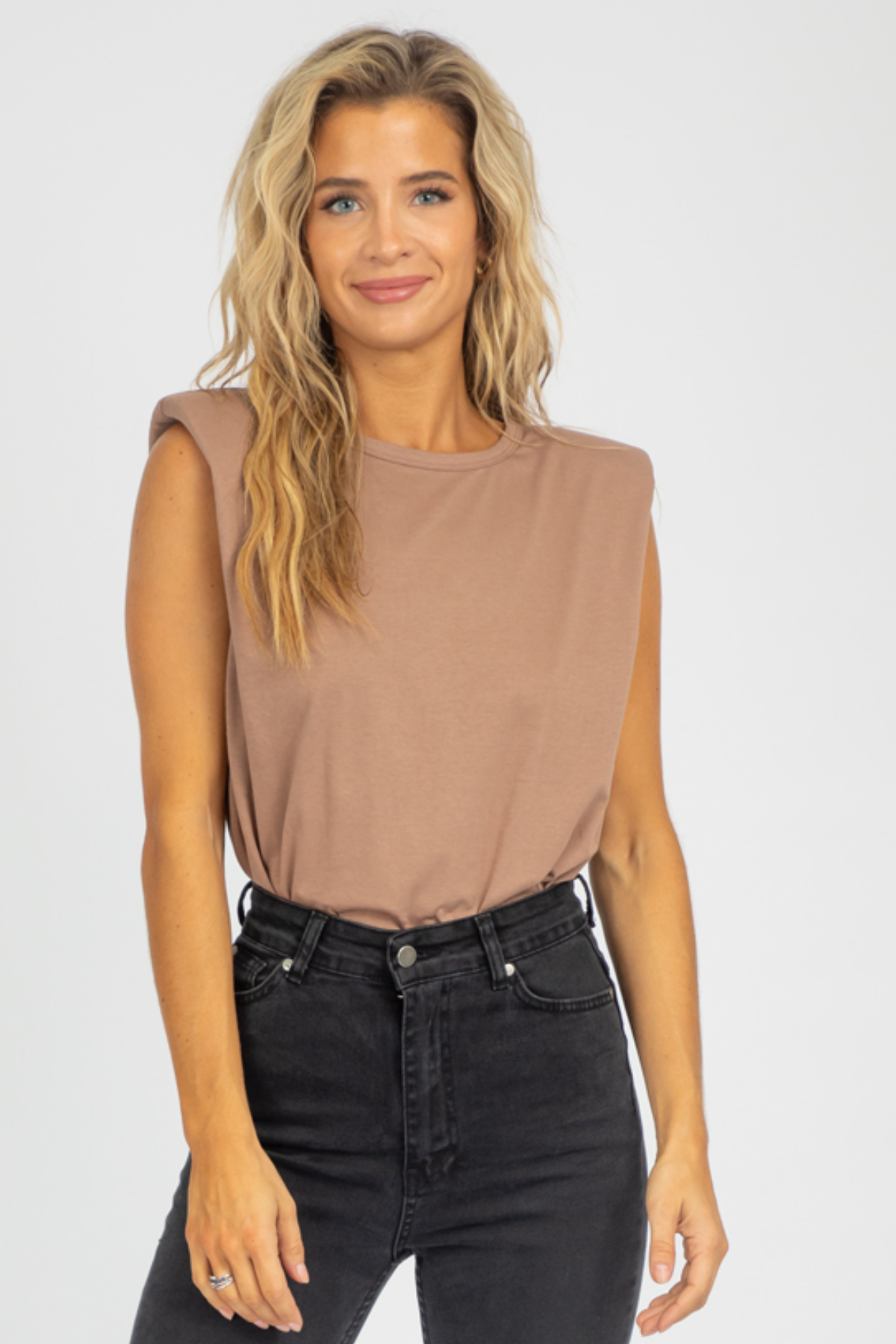 MOCHA SHOULDER PAD TANK