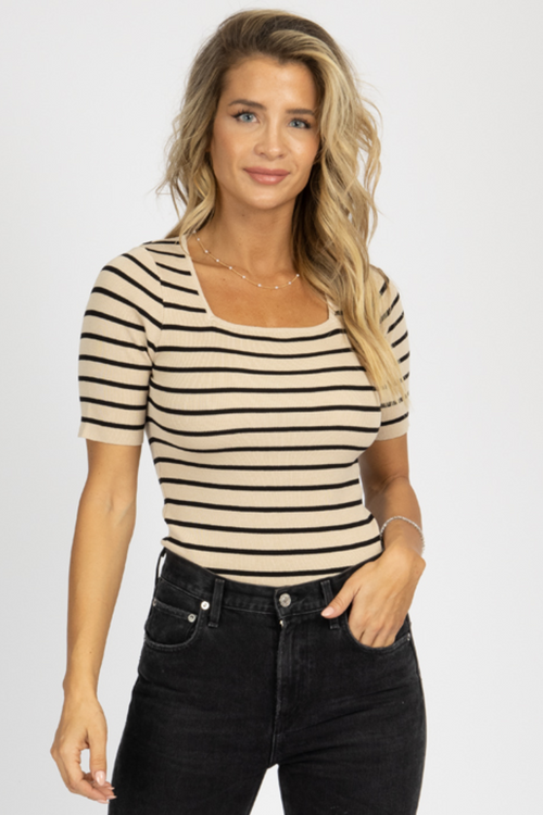 TAUPE + BLACK STRIPED SQUARENECK TOP