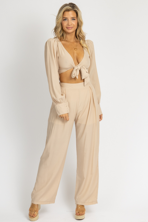TAUPE TIE CROP + PALAZZO PANT SET