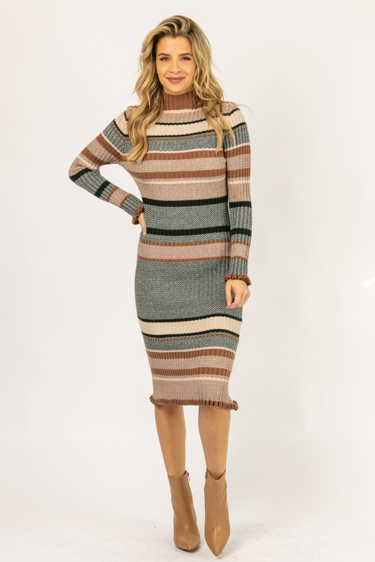 TAUPE + GREEN STRIPED KNIT MIDI