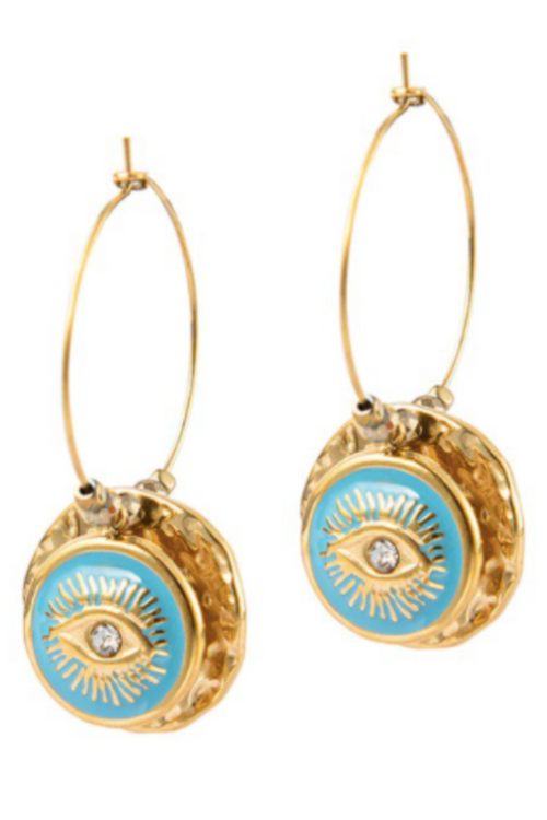BLUE EVIL EYE HOOP EARRING