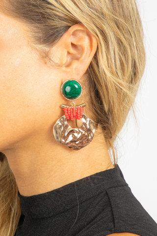 EARTH STONE DANGLE EARRING