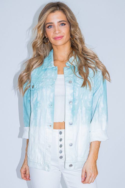 TEAL TIE DYE DENIM JACKET
