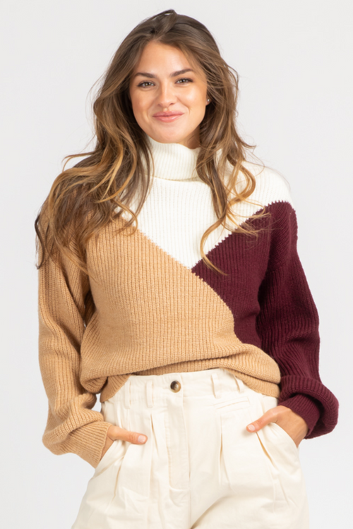 TRI-COLORBLOCK TURTLENECK KNIT