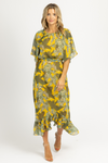 YELLOW PALM BELTED MAXI DRESS