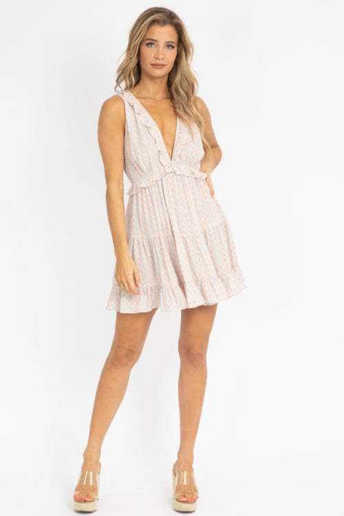 DEEP V LAYERED RUFFLE DRESS