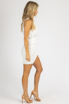 WHITE COLLARED RUCHED MINI DRESS
