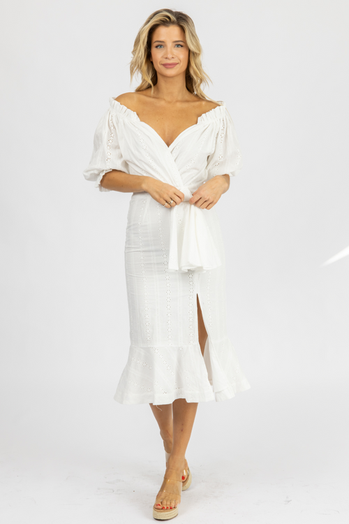 EYELET OFF SHOULDER WAIST-TIE MIDI