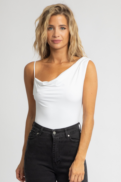 WHITE COWL NECK SHOULDER BODYSUIT