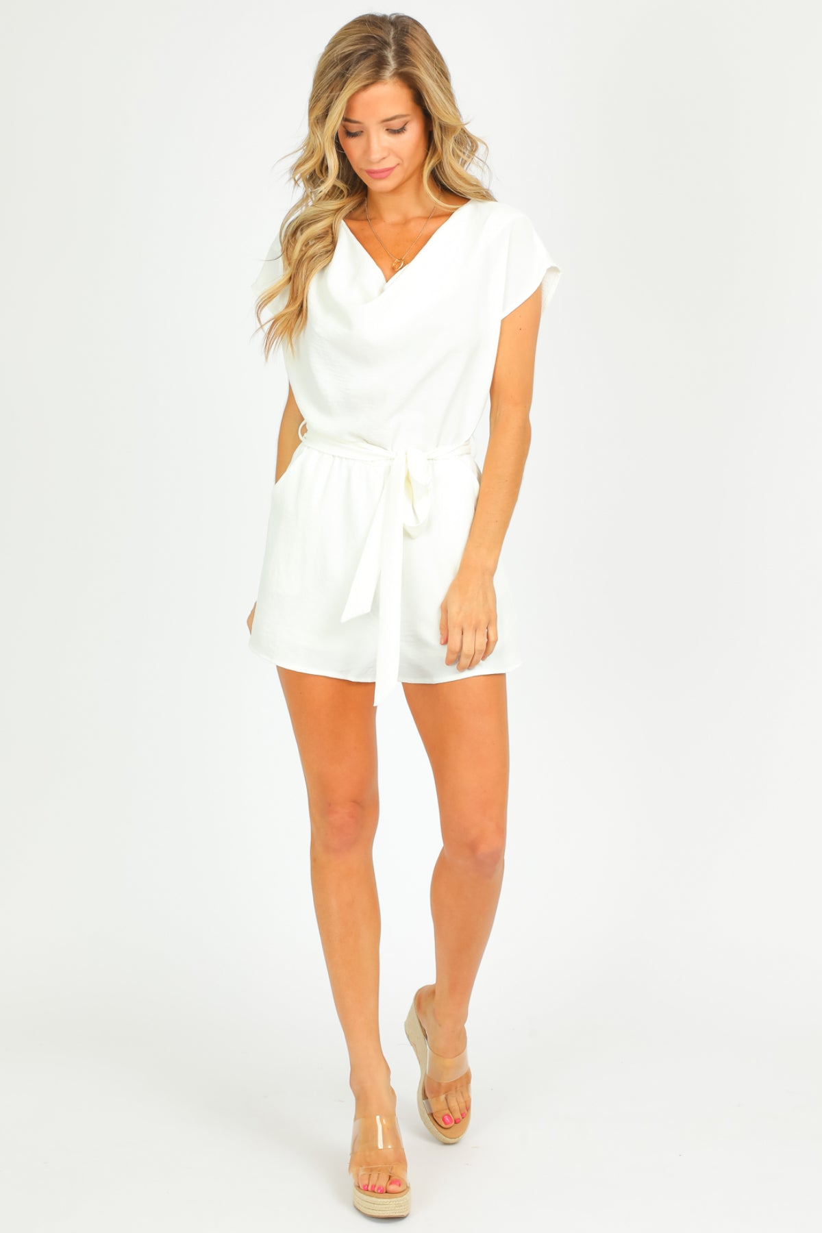 WHITE COWL NECK ROMPER
