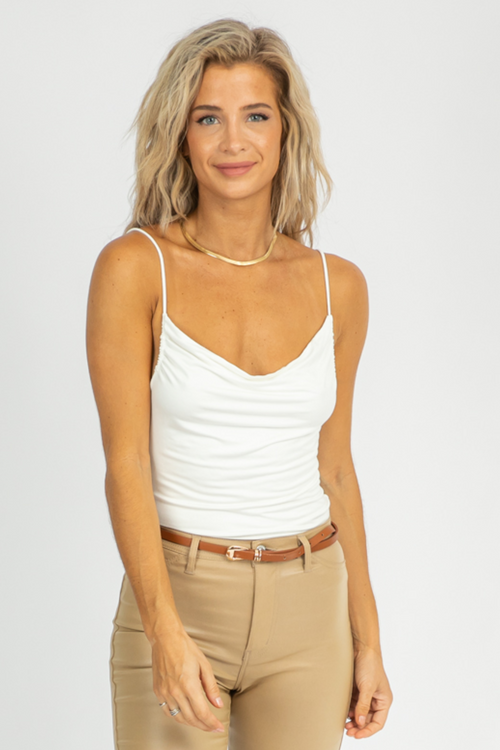WHITE RUCHED COWL CAMI