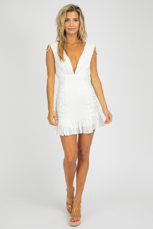 WHITE DEEP-V TIED MINI DRESS