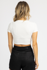 WHITE EXPOSED STITCH CROP TEE