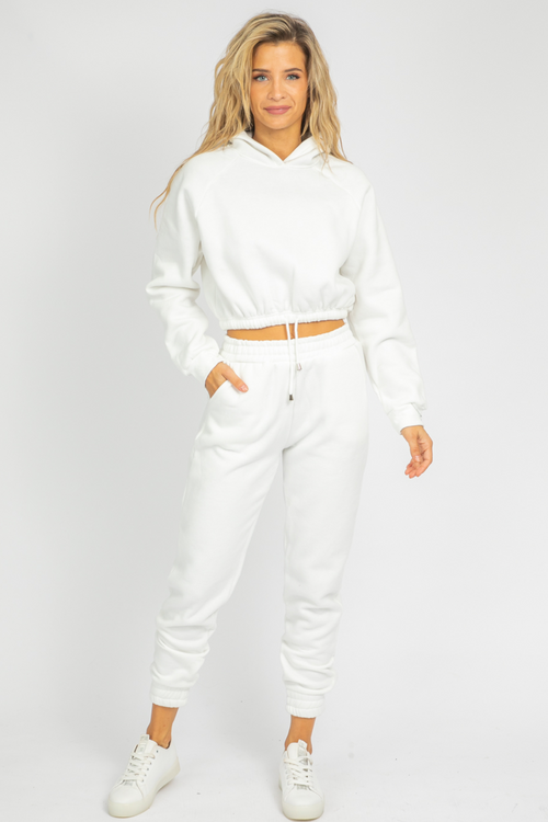 WHITE FRENCH TERRY JOGGER SET