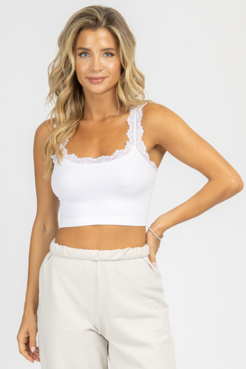 WHITE RIBBED LACE TRIM CROP TANK
