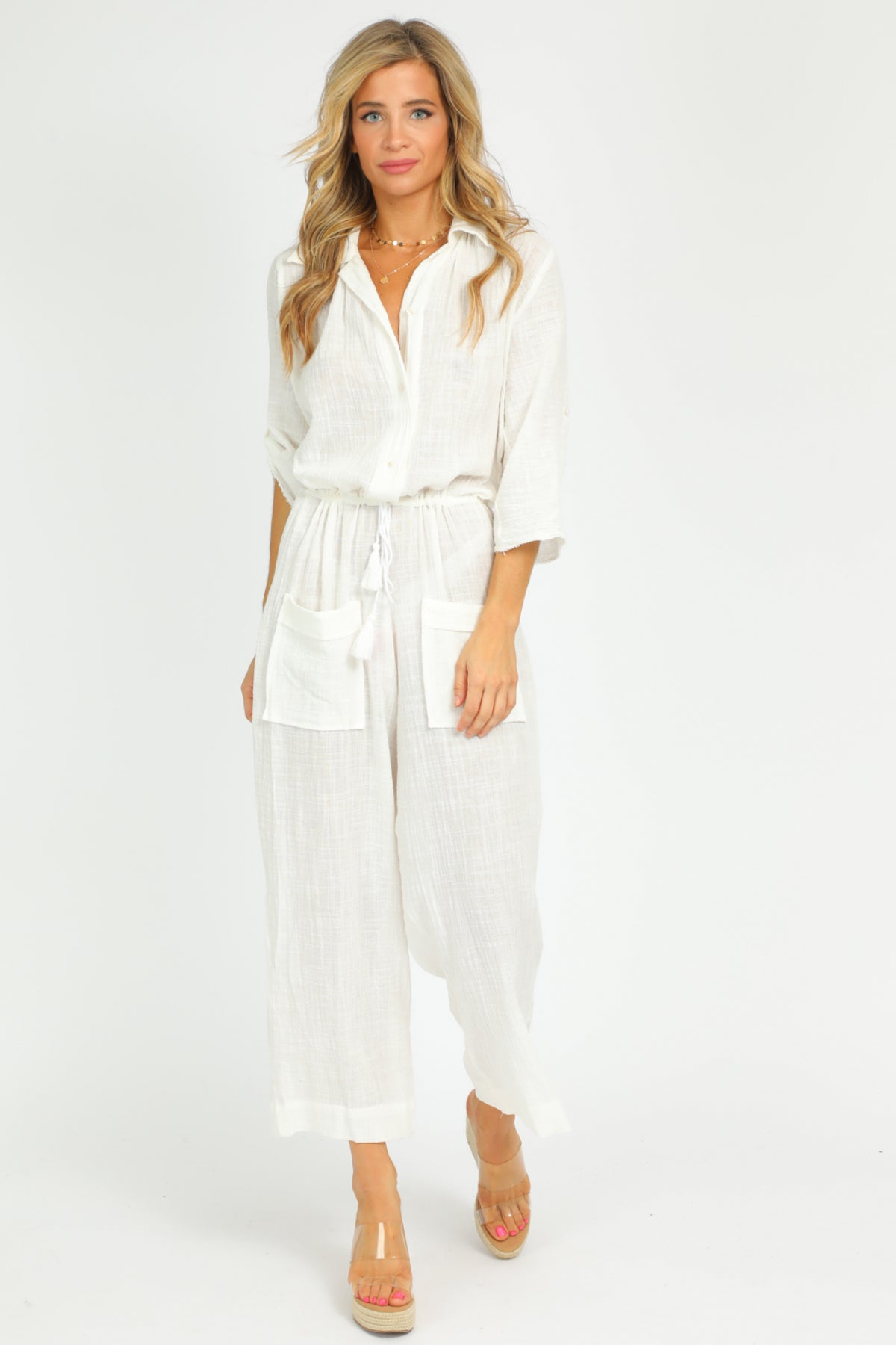 WHITE LINEN JUMPSUIT