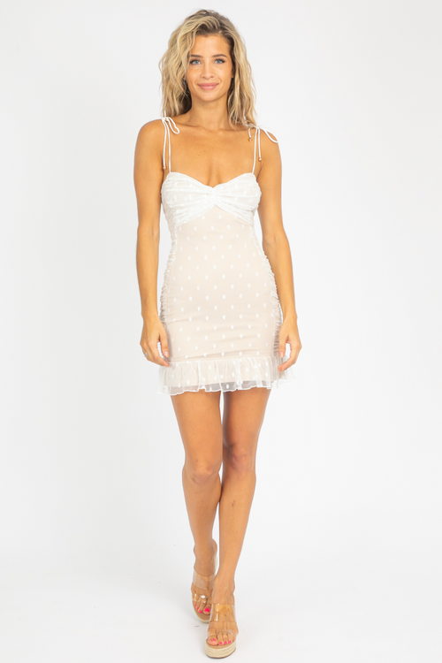 POLKA DOT MESH CAMI DRESS