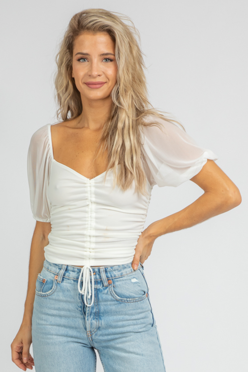 OFF WHITE MESH RUCHED CROP