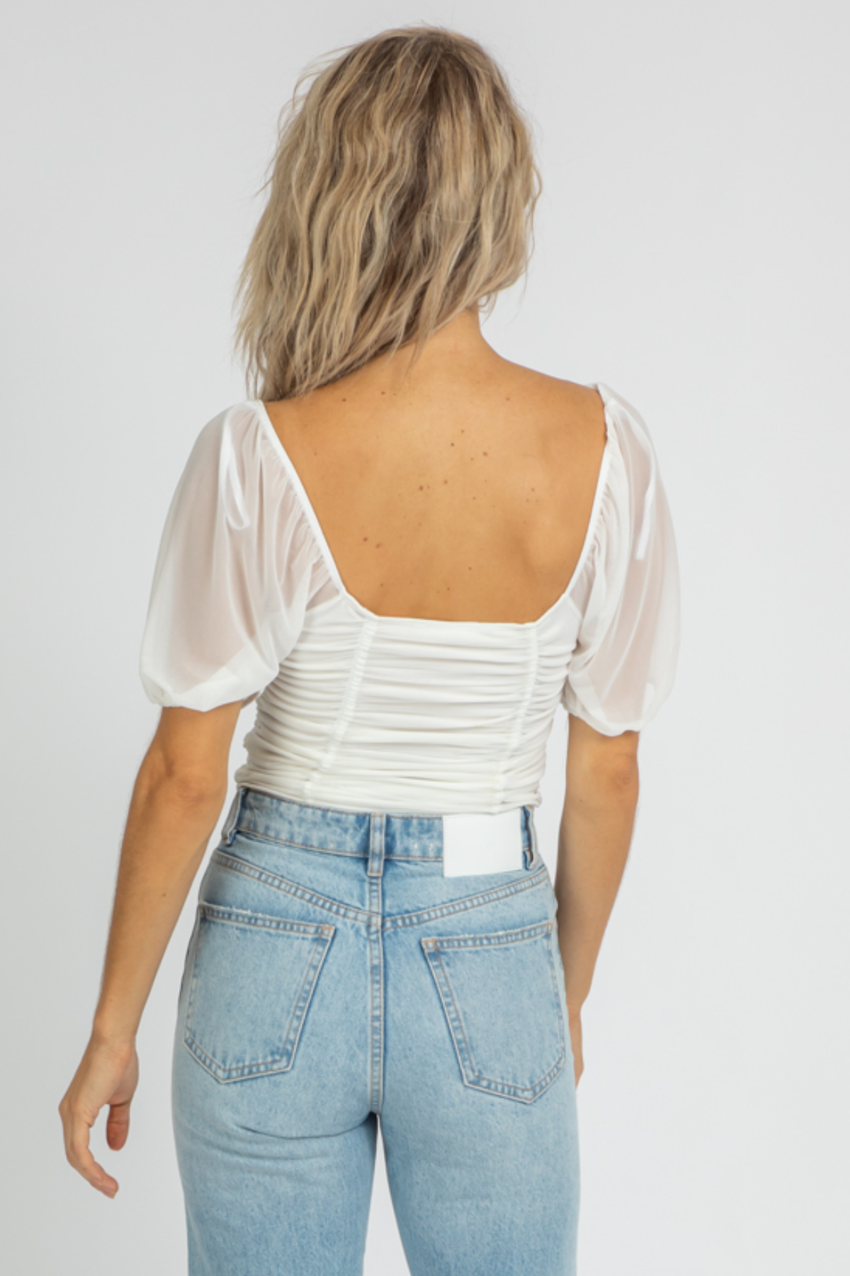 OFF-WHITE MESH RUCHED CROP