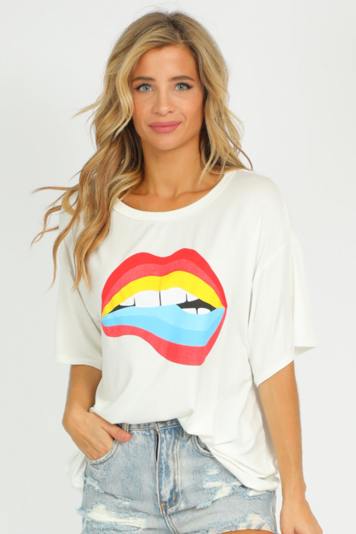 WHITE MULTICOLOR LIPS TEE
