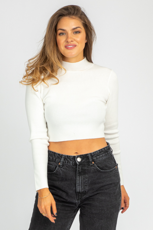 IVORY OPEN BACK MOCKNECK SWEATER