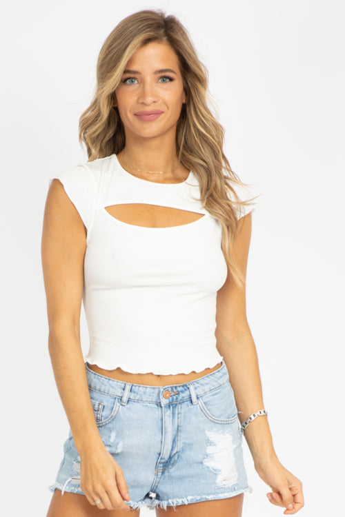 WHITE CUTOUT RIBBED TOP