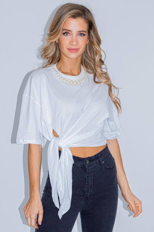 WHITE PEARL COLLAR TEE