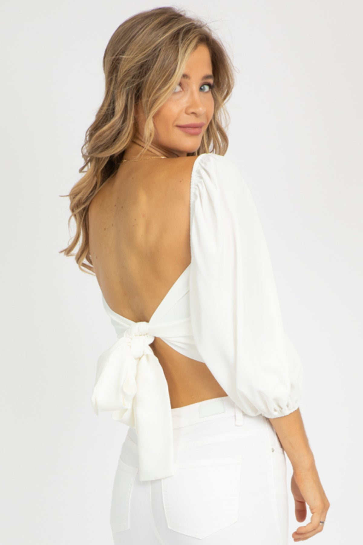 PUFF SLEEVE TIE BACK TOP