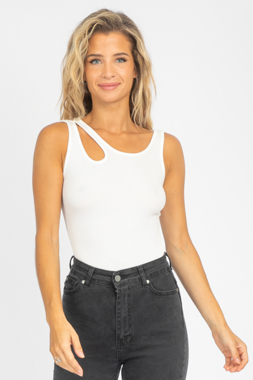IVORY CUTOUT SHOULDER RIBBED TANK