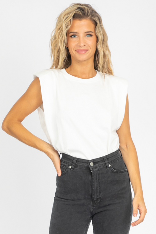 PADDED SHOULDER MUSCLE TEE IN WHITE