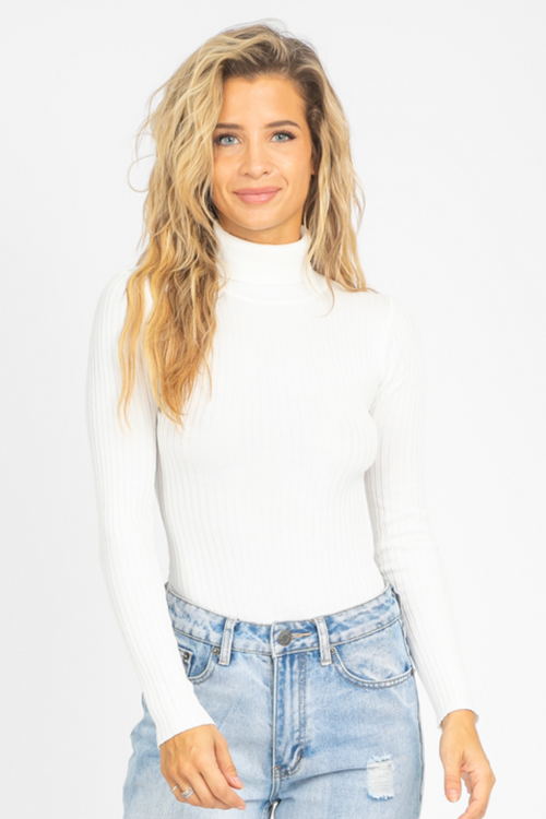 RIB KNIT TURTLENECK BODYSUIT IN IVORY