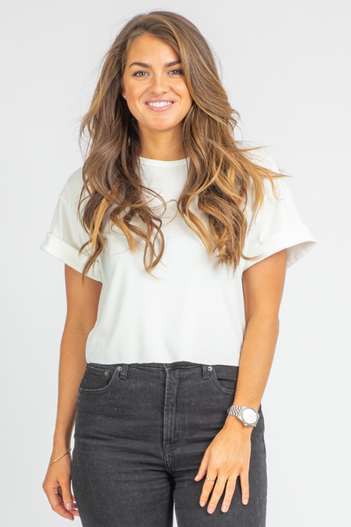 WHITE ROLLED SHORT SLEEVE CROP