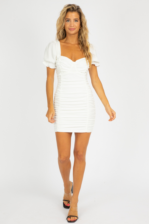 WHITE RUCHED PUFF SLEEVE DRESS