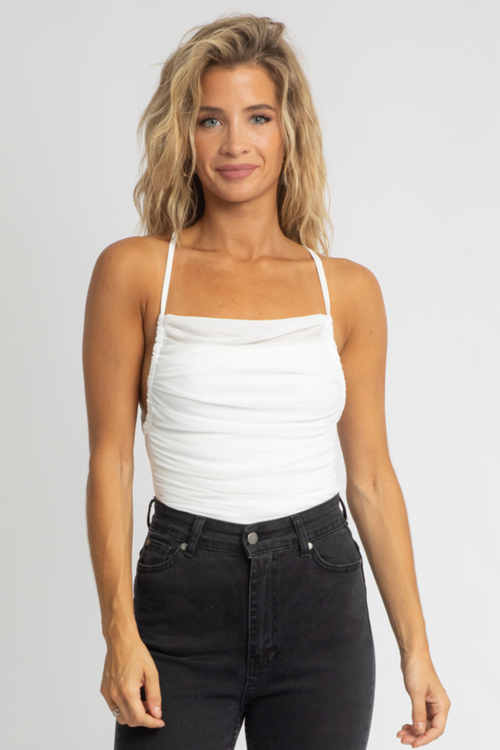 WHITE RUCHED TIE-BACK BODYSUIT