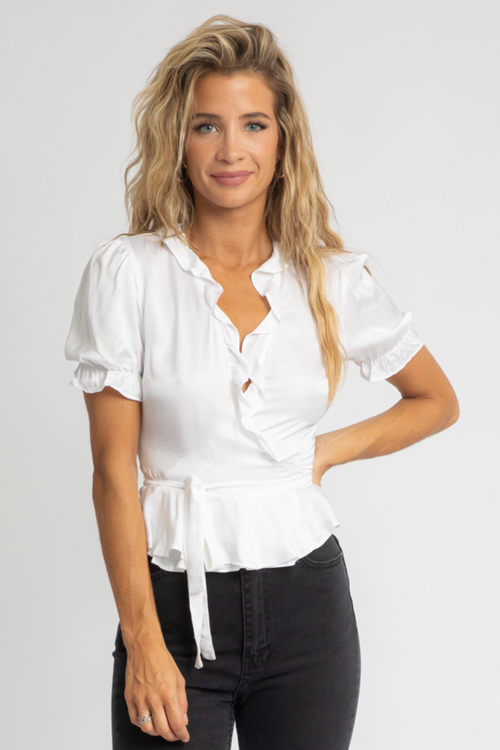 WHITE SATIN WRAP TOP