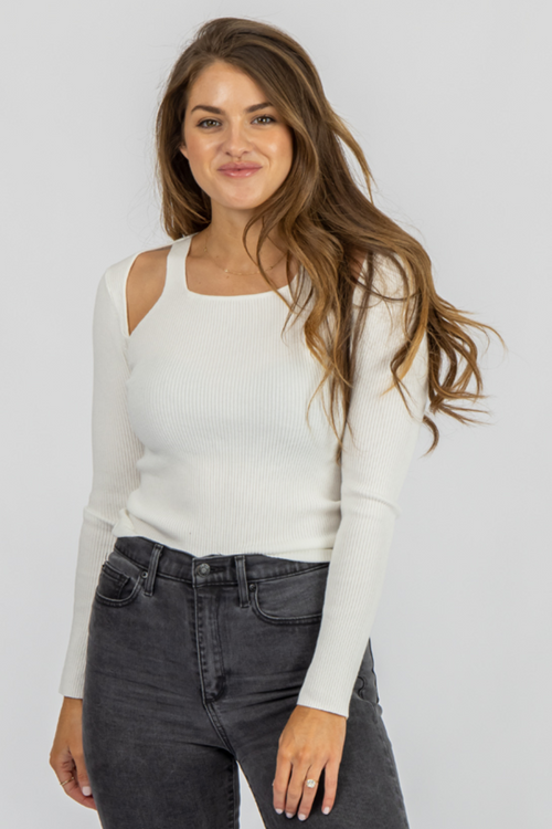 WHITE OPEN SHOULDER LONG SLEEVE TOP
