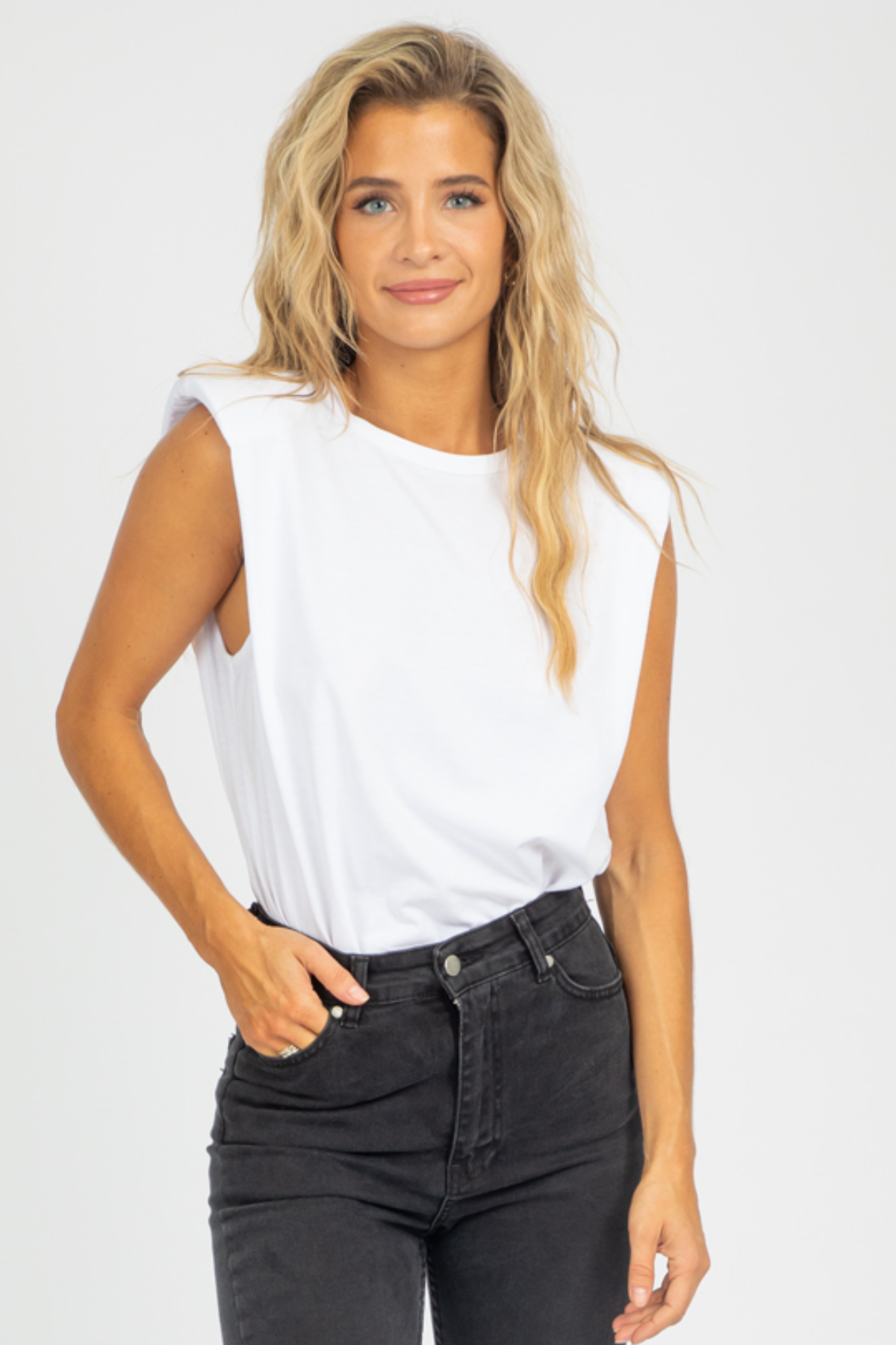 WHITE SHOULDER PAD TANK