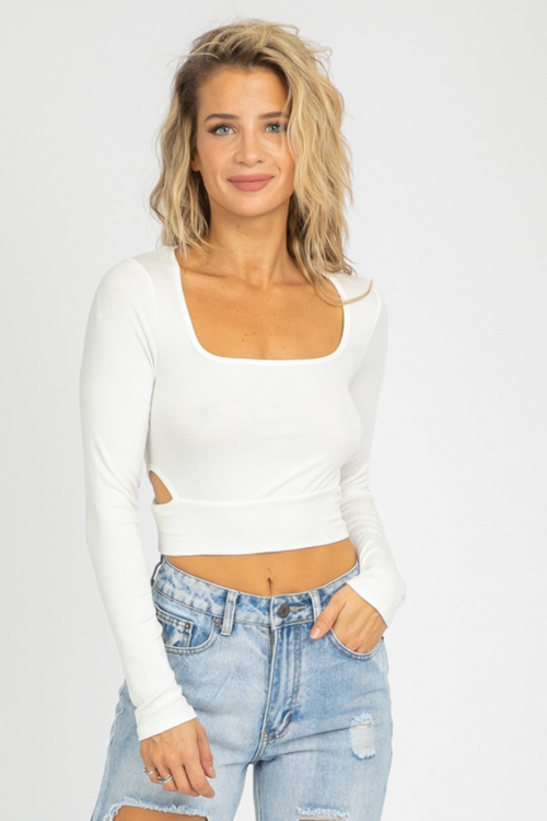 WHITE OPEN SIDE LONG SLEEVE TOP