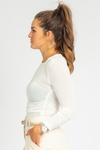 WHITE RUCHED SIDE LONGSLEEVE TOP