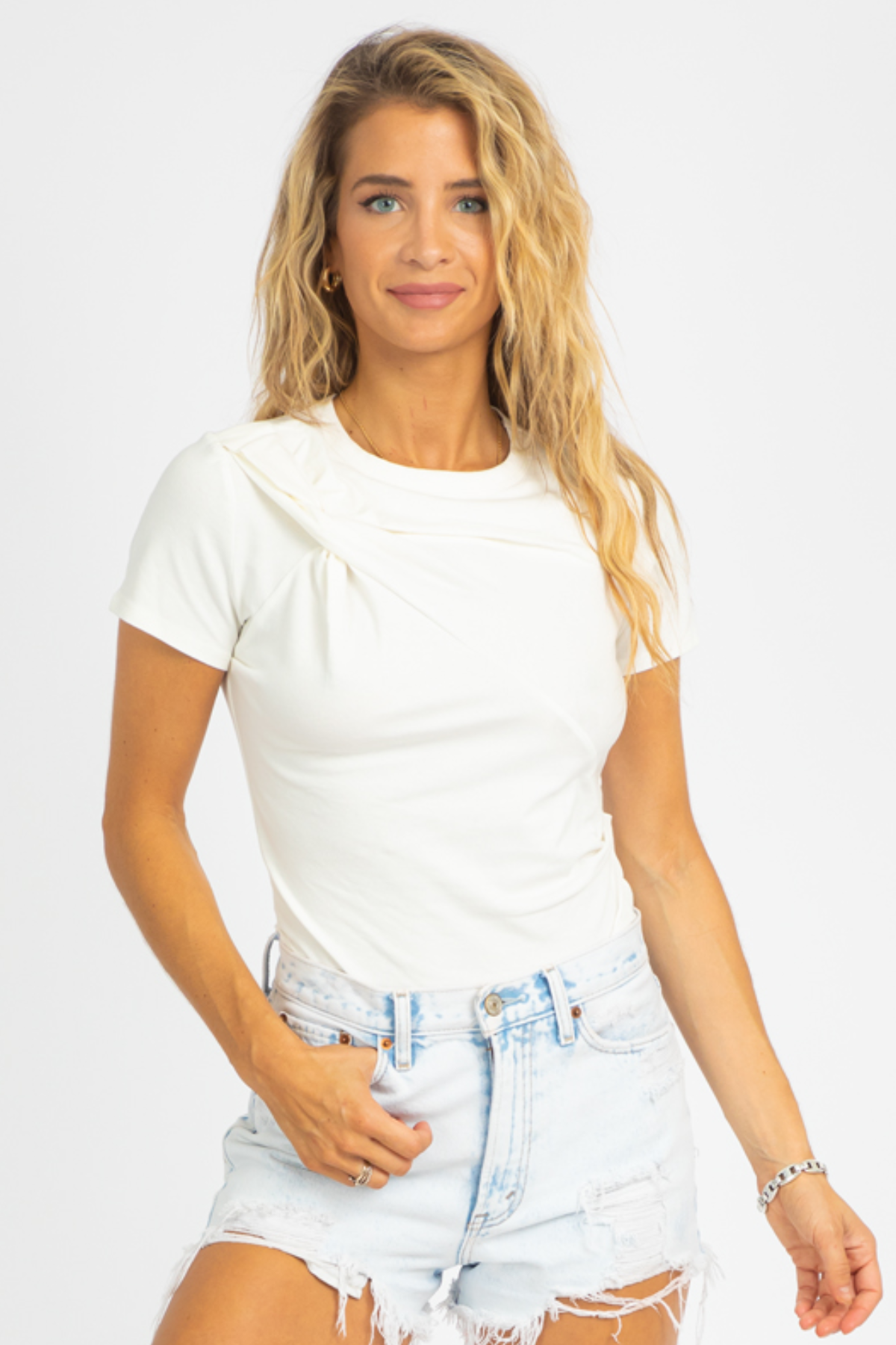 WHITE ONE-SIDED RUCHE TOP
